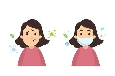 Ilustración de Woman with infections. - Imagen libre de derechos
