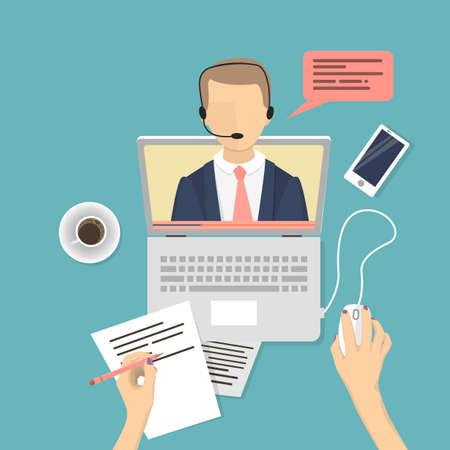 Illustration pour Webinar concept illustration. People studying online with male teacher. - image libre de droit