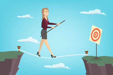 Ilustración de Businesswoman tightrope walker. Idea of risky and courage business. - Imagen libre de derechos