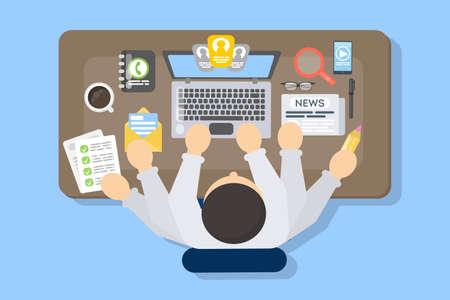 Illustration pour Businessman multitasking at work. - image libre de droit