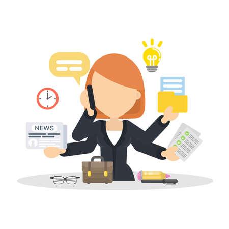 Ilustración de Businesswoman multitasking at work. - Imagen libre de derechos