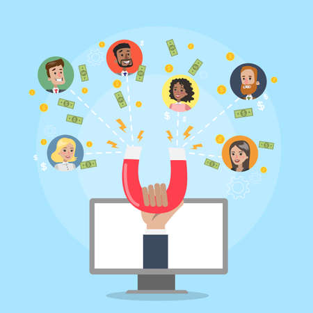 Illustration pour Attracting online customers. - image libre de droit
