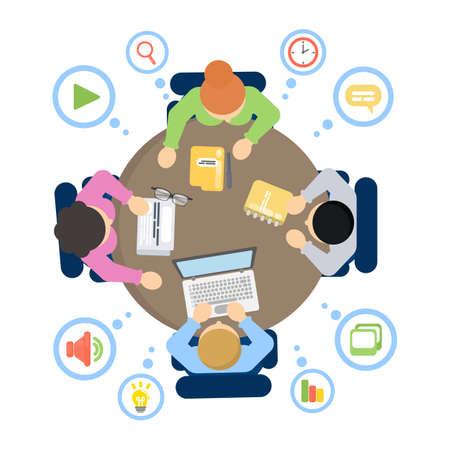 Illustration pour People at work on a colorful presentation. - image libre de droit