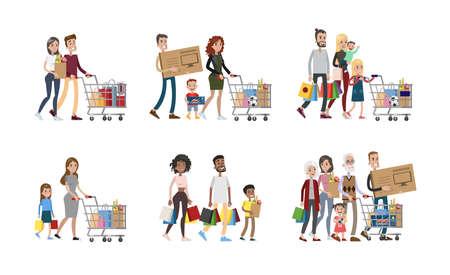 Foto de Family at shopping set. Parents and children, grandparents and babies. - Imagen libre de derechos