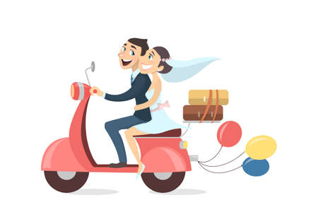 Illustration pour Just married couple riding scooter with balloons and luggage on white background. - image libre de droit