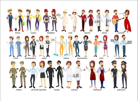 Ilustración de Profession couple set. Police and firefighters, businessmen and doctors. - Imagen libre de derechos