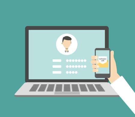Illustration pour Verification code message. Laptop and smartphone with code. - image libre de droit