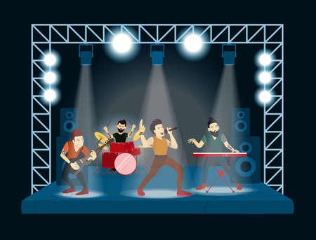 Illustration pour Band at concert. Rock singers and musicians. - image libre de droit