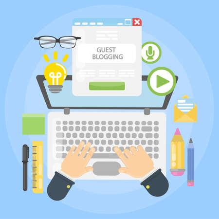 Illustration pour Guest blogging desk on plain background. - image libre de droit