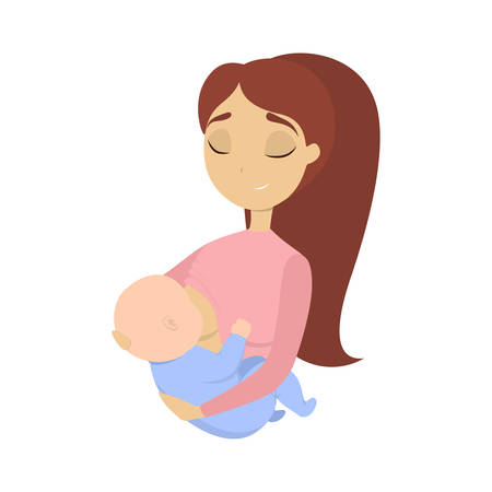 Illustration pour Woman breastfeeding baby on hands on white background. - image libre de droit
