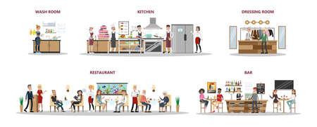 Illustration pour Restaurant interior set with people sitting, kitchen and bar on white. - image libre de droit