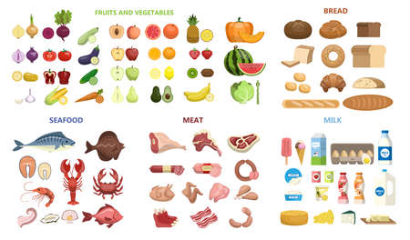 Vektor für All food set. Fruits and vegetables, meat and diary, seafood and bread. - Lizenzfreies Bild