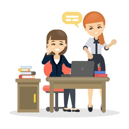 Illustration pour Women at office. - image libre de droit