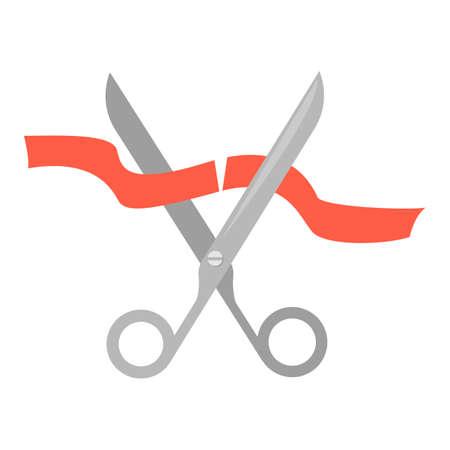 Illustration pour Scissors cutting orange ribbon illustration. - image libre de droit