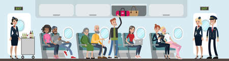 Ilustración de A group of people in airplane. Air-hosts and passengers. A man standing attending to luggage. - Imagen libre de derechos