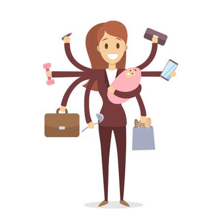 Multi tasking woman illustration.