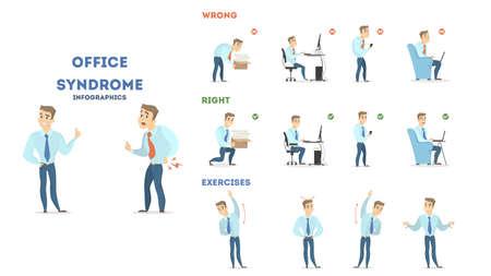 Illustration pour Office syndrome set illustration. - image libre de droit