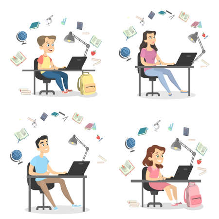 Illustration pour Four people studying set. - image libre de droit