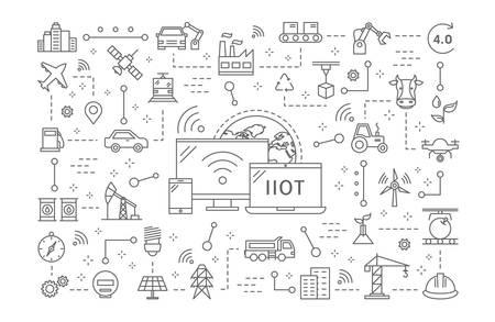Illustration pour Industrial internet of things. - image libre de droit