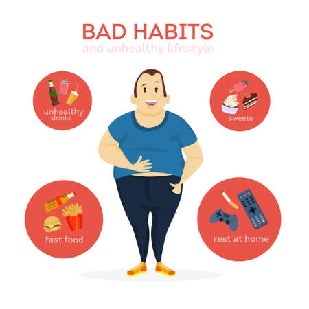 Illustrazione per Cartoon man image and bad habits illustration - Immagini Royalty Free