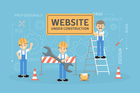 Illustration for Site under construction with workers. - Royalty Free Image