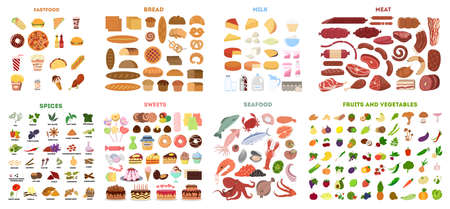 Ilustración de All types of food in set. - Imagen libre de derechos