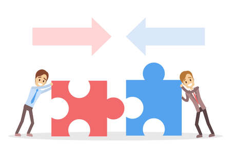 Businessmen with puzzles, teamwork concept vector illustration