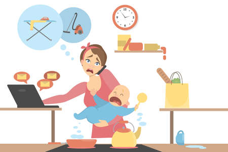 Illustration pour Isolated multitasking mother. Vector illustration. - image libre de droit