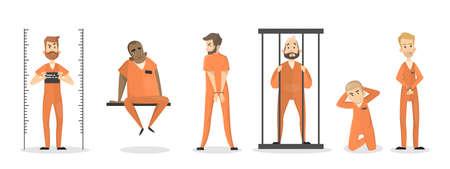 Ilustración de Isolated imprisoned people set in orange uniform. - Imagen libre de derechos