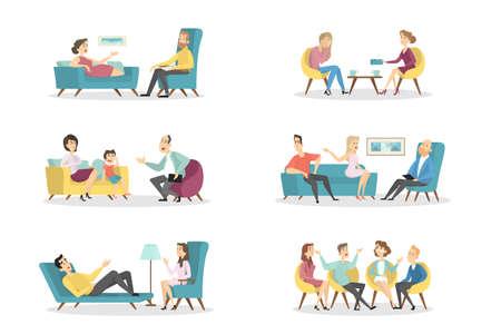 Ilustración de Psychologists with patients. - Imagen libre de derechos