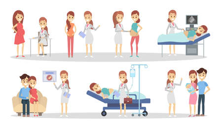 Illustration pour Pregnancy at clinic. - image libre de droit