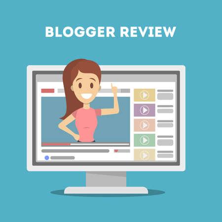 Illustration pour Female video blogger. People doing review on screen. - image libre de droit