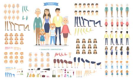 Ilustración de Family characters set with poses and emotions. - Imagen libre de derechos