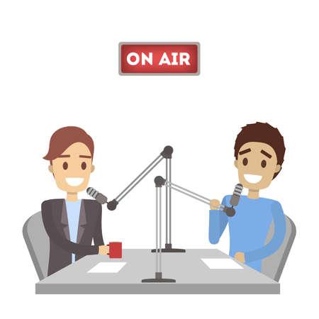 Illustration pour Radio presenters set. - image libre de droit