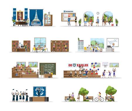 Illustration pour University city building interior rooms with students. - image libre de droit