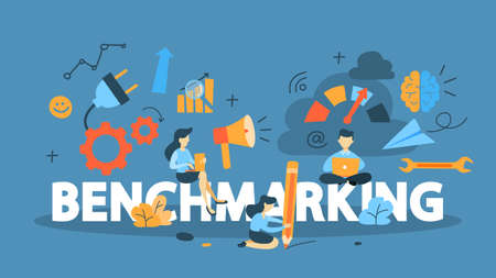 Illustration for Benchmarking concept. Idea of business development and improvement. Compare quality with other companies for improvement. - Royalty Free Image