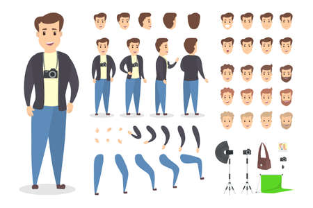 Illustration pour Handsome photographer character set for animation with various views, hairstyles, emotions, poses and gestures. Different equipment such as camera and softbox. Isolated vector illustration - image libre de droit
