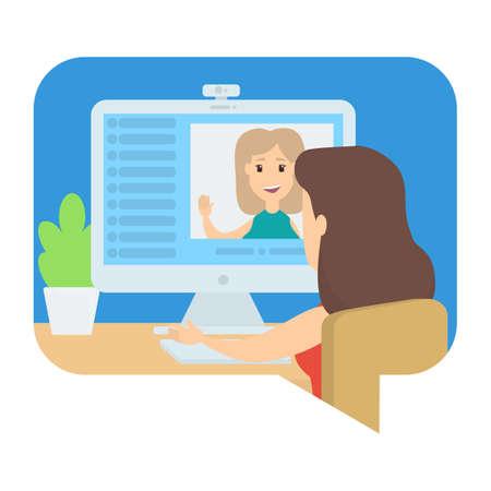Illustration pour Video chat between two young girls. Communication via internet. Online conversation. Isolated vector illustration - image libre de droit