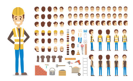 Illustration pour Cute male builder character in uniform set for animation with various views, hairstyles, face emotions, poses and equipment. Isolated vector illustration - image libre de droit