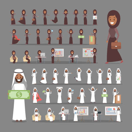 Illustration pour Set of arab businessman and business woman or office worker characters in suits with various poses, face emotions and gestures. Isolated flat vector illustration - image libre de droit