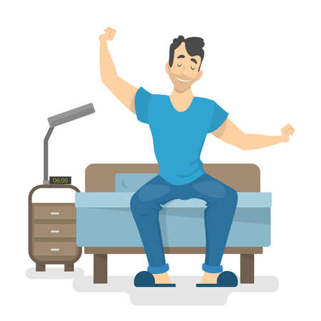 Illustration pour Happy man waking up early in the beginning of the good day. Guy sitting on the bed. Isolated vector illustration in cartoon styl - image libre de droit
