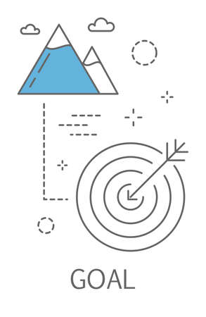 Business or finance goal concept. Idea of planning and strategy. Going to success and growth. Line icon set with target and mountains. Isolated vector illustration