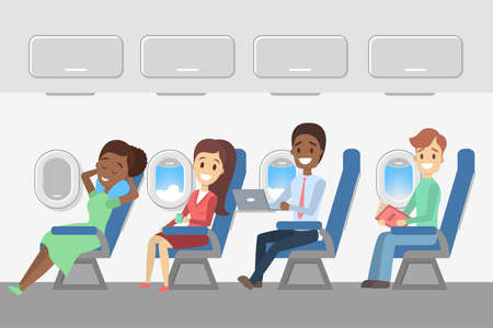Ilustración de Passengers in the plane. Aircraft interior with happy young people in the seats. Travel and tourism. Flat vector illustration - Imagen libre de derechos