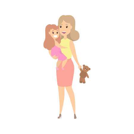 Illustration for Happy mother and smiling child playing together. Family enjoy. Isolated flat vector illustration - Royalty Free Image