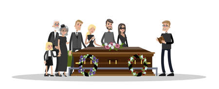 Ilustración de Funeral ceremony on the cemetery. Sad people in black clothes standing with flowers and wreaths around coffin. Isolated vector flat illustration - Imagen libre de derechos