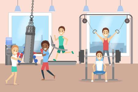 Illustration pour Group of men training in the gym - image libre de droit