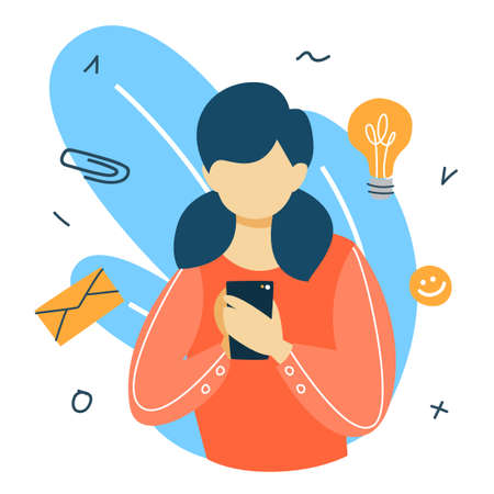 Social media concept. Global communication, sharing content and getting feedback. Woman chatting with friends using smartphone. Marketing strategy. Flat vector illustration