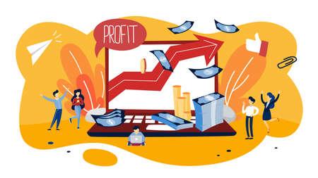 Vektor für Profit concept illustration. Idea of growth and improvement. Sales increase and money making. Financial success. Flat vector illustration - Lizenzfreies Bild