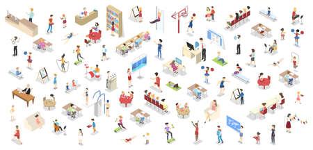 Illustration pour Children study in the school set isometric - image libre de droit