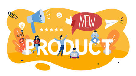 Ilustración de New product promotion and advertising concept. Public announcement. Rate the product. Isolated flat vector illustration - Imagen libre de derechos